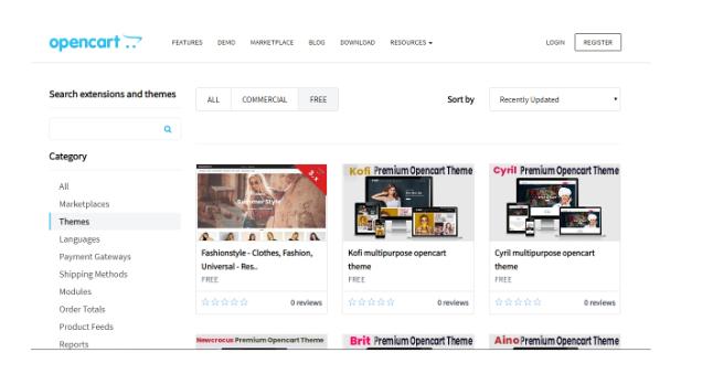 OpenCart theme store