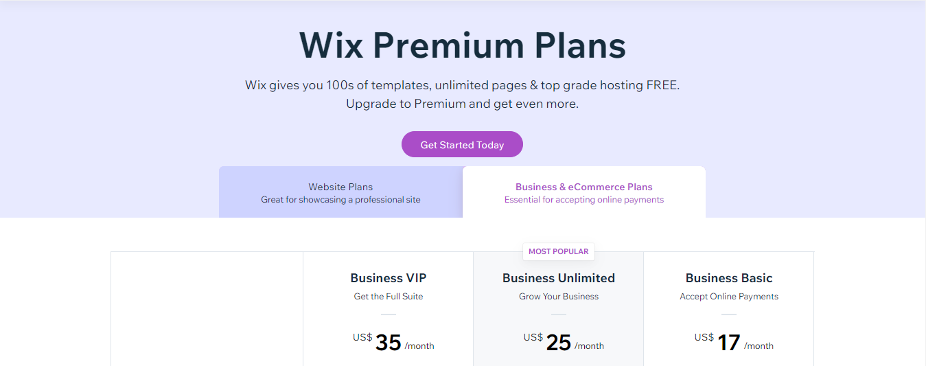 Wix Price - Business