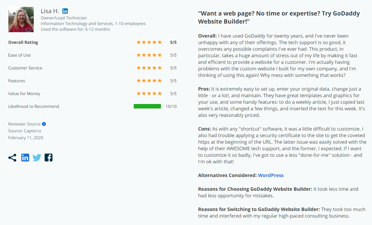 GoDaddy's eCommerce feedback