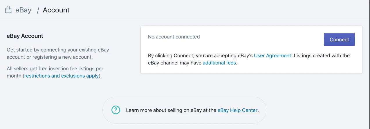 The pop-up connects your eBay account to Shopify - Shopify eBay integration