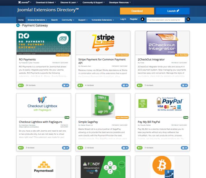 Joomla payment gateways