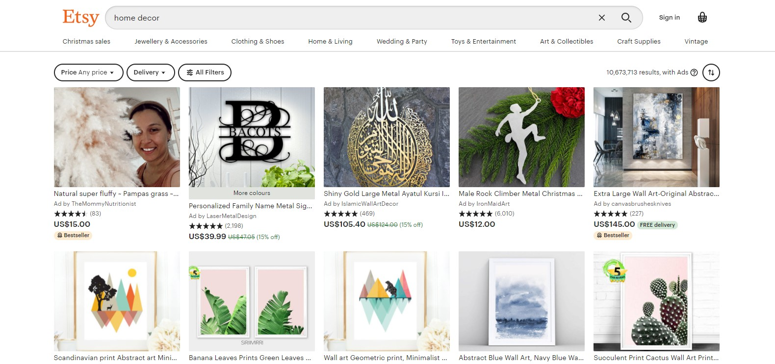 Home decor - Top 10 Best Selling Items on Etsy