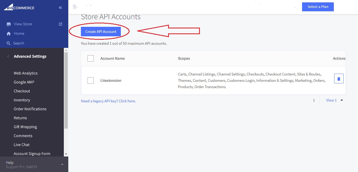 get api path and token in bigcommerce